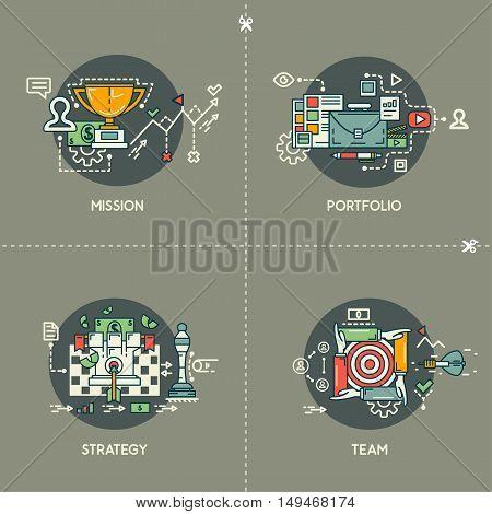 Mission, portfolio, strategy, team on gray background