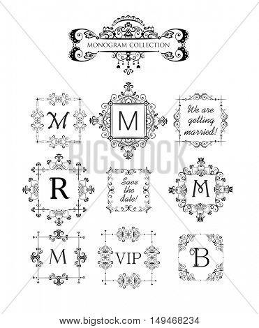 Vector set of decorative frames for wedding invitation, birthday greeting card. Vintage vignette for design template, logo, monogram, frames for menu card, restaurant, cafe, hotel, jewellery store