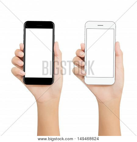 women hold phone showing blank screen display on white background mockup new phone technology black and white color