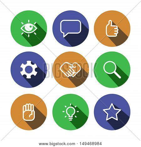 Flat outline vector business multicolor (green blue orange) icons set