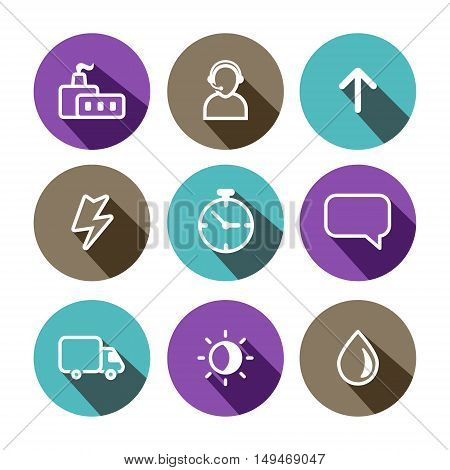 Flat outline vector business and construction multicolor (purple brown light blue) icons set