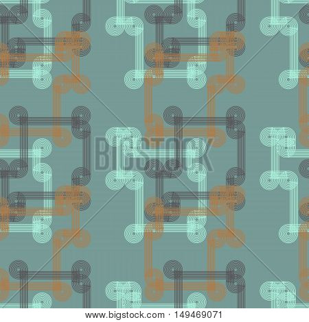 Vector seamless pattern in retro style geometrical lines in blue and orange colors.