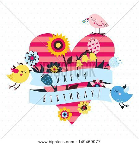 Happy birthday vector greeting card with birds flowers ribbon and heart
