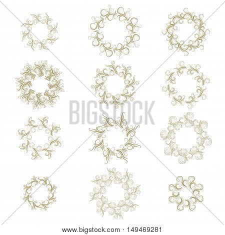 Curly gold round frame set isolated on white. Vector illustration.