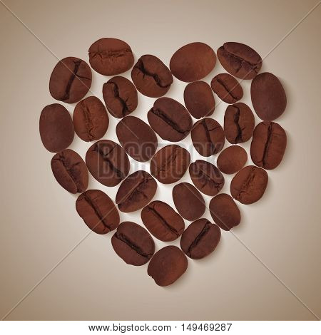 Shape of heart realistic roasted brown coffee beans on beige gradient background vector illustration