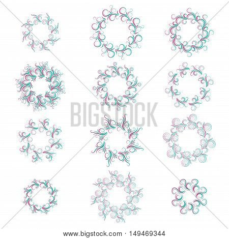 Green and pink curly round gradient frame set isolated on white. Vector illustration.