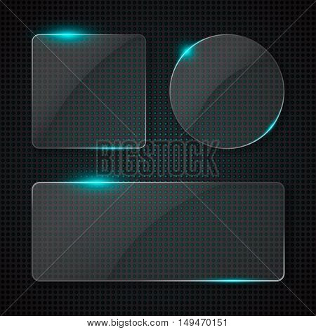 Set of transparent glass banners with glowing lights over techno style background. Vector illustration.