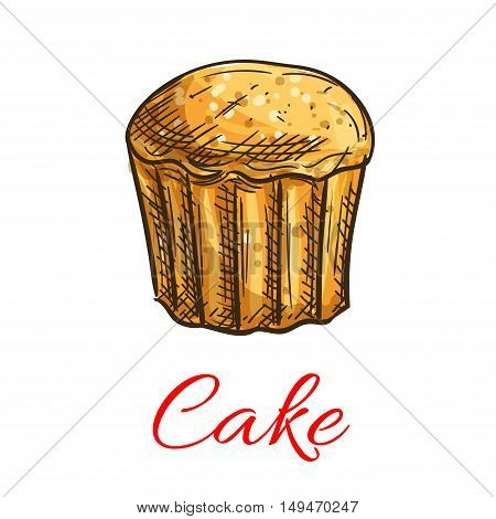Cake sketch icon. Patisserie shop emblem. Vector sweet cupcake with creamy topping and caramel. Template for cafe menu card, cafeteria signboard, bakery label
