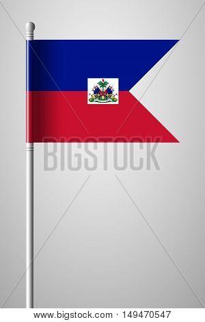 Flag Of Haiti. National Flag On Flagpole
