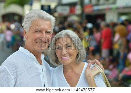 portrait of Nice Mature couple in town