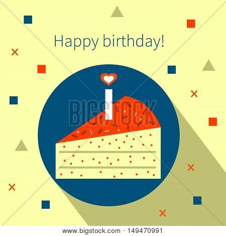 Birthday cake flat icon with long shadow. Vector card, flyer, banner, postcard, poster, billboard, label Happy Birthday