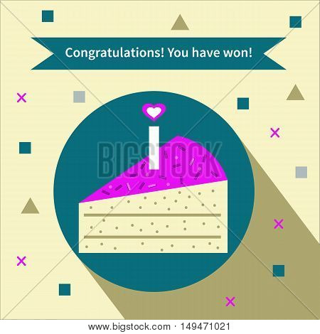 Cake for winner. Vector flat icon with long shadow. Card, banner, greeting, congratulations, you have won