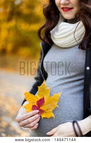 smiling pregnant woman close-up holding an autumn leaf of red and yellow on the background of the autumn landscape