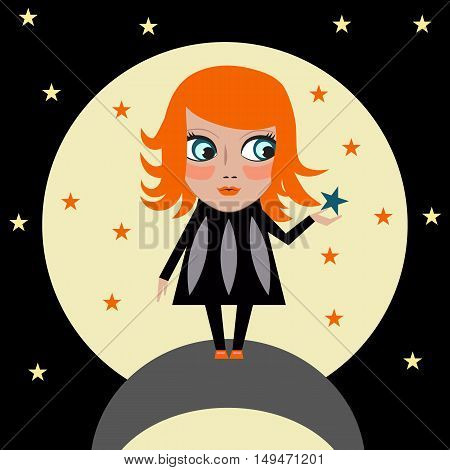 Big dream comes true. Girl keep star in hands on background of moon at night. Cartoon applique character, big eyed paper baby in dress standing on planet in space.