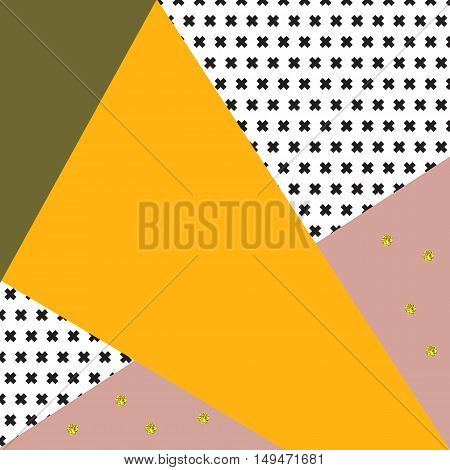 Abstract geometric background in retro colors and style. Black crosses texture yellow pink and green triangles and golden dots.