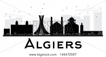 Algiers City skyline black and white silhouette. Vector illustration. Simple flat concept for tourism presentation, banner, placard or web site. Business travel concept. Cityscape with landmarks