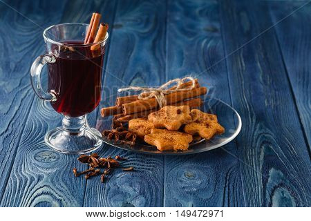 Mulled Wine Traditional Hot Spiced Alcohol Winter Season Beverage With Cinnamon, Orange, Anise And O