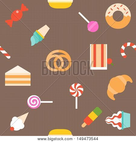Vector dessert seamless pattern, sweet background , candy , cake