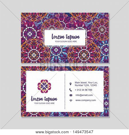 Visiting Card And Business Card Set With Mandala Pattern And Simple Logo. Abstract Oriental Design L