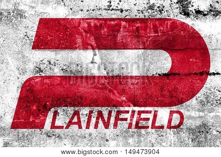 Flag Of Plainfield, Indiana, Usa, Painted On Dirty Wall