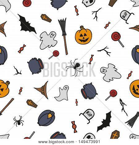 Seamless pattern for Halloween on white background. Vector illustration