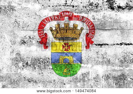 Flag Of Porto Alegre, Rio Grande Do Sul, Brazil, Painted On Dirty Wall