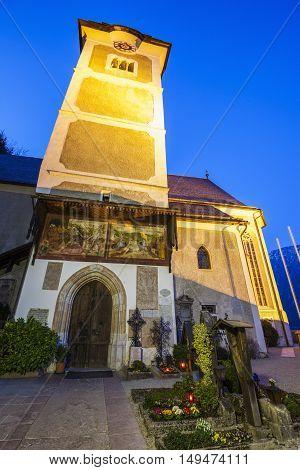 The Parish Church in Hallstatt. Hallstatt Austria.