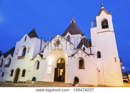 San Antonio church in Alberobello. Alberobello Apulia Italy