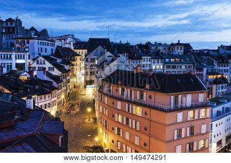 Lausanne panorama at night. Lausanne Vaud Switzerland.