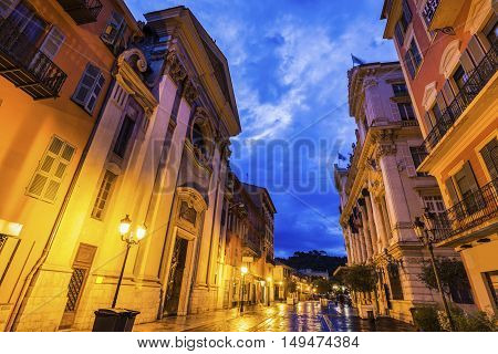 Saint Francois de Paule Church in Nice. Nice French Riviera France.