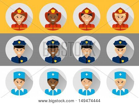 Set of people of different nationalities police, fireman, doctor. Icons profession in a flat style.