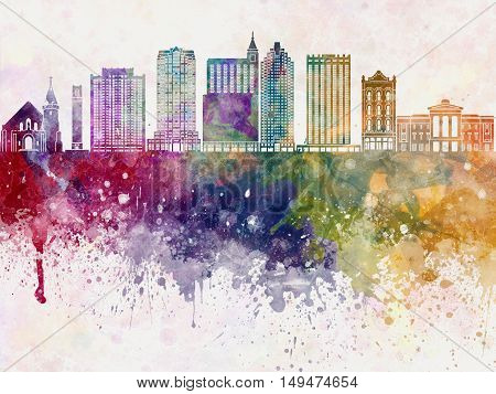 Raleigh skyline artisc abstract in watercolor background