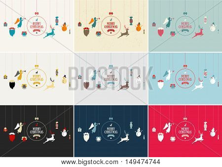 Merry Christmas decoration and card design. Happy New Year design elements. Vintage symbols of colourful deer, bell, snowflake, bow, tree, snowman. Holiday hand drawn vector icons set.