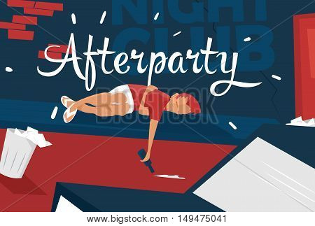 Boy lies near night club, feeling tired, sleepy. Afterparty. Unique concept illustration