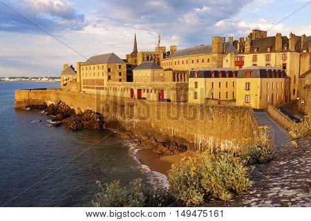 St-Malo panorama at sunset. St-Malo Brittany France