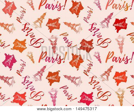 Seamless french pattern with Paris lettering and Eiffel tower handmade sketches in peach colors. Vector illustration