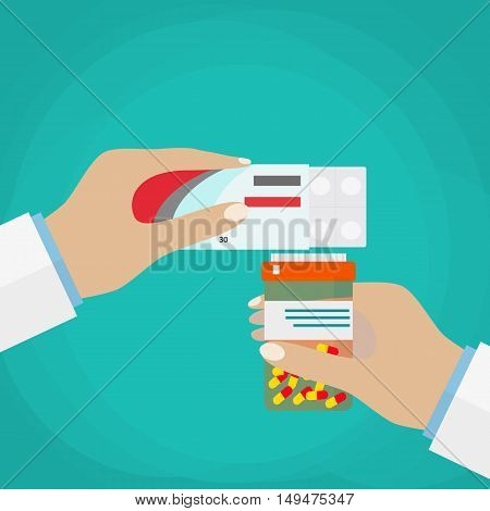 Doctor hand holding box of pills and jar of capsules. vector illustration in flat style on green background