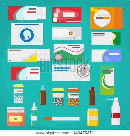 Medicine pills capsules and bottles isolated on green background. Tablets in flat style. Medical icons set. vector illustration