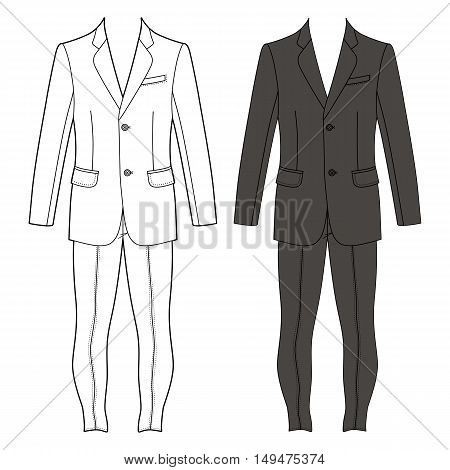 Man's suit (jacket & skinny jeans) outlined template front view vector illustration isolated on white background