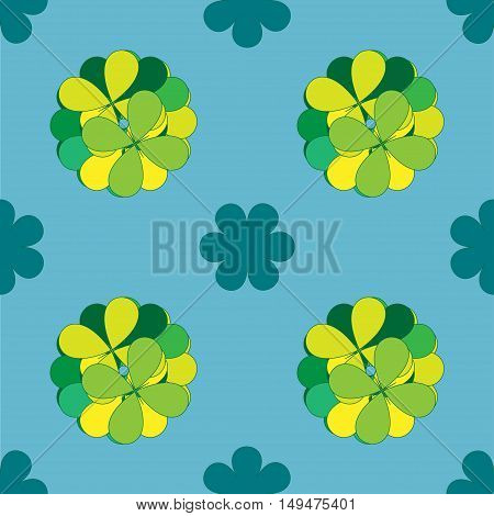 Seamless arabic background with flowers. Vector green seamless pattern