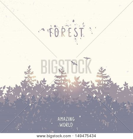Beautiful forest silhouette with place for text. Stylish vector illustration