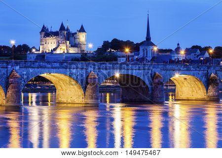 Panorama of Saumur at night. Saumur Pays de la Loire France