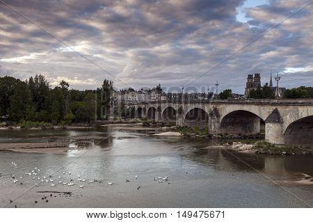 Orleans panorama with Loire River. Orleans Pays de la Loire France