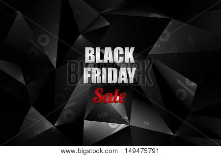 Black Friday sale decoration with abstract polygonal background. Promotional design template. Vector illustration.