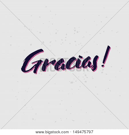 Thank You spanish lettering handmade vector calligraphy.