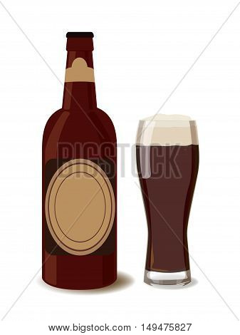 Dark beer bottle with a glass of beer. Vector illustration of beer isolated. Oktoberfest