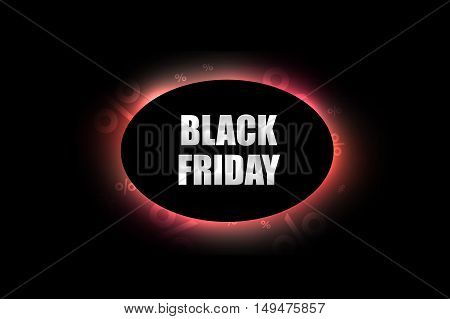 Black Friday sale decoration with abstract lighting effect on black background. Promotional design template. Vector illustration.