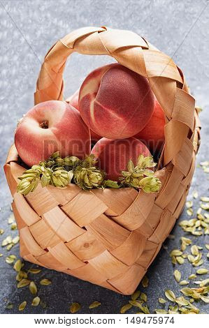 Wicker basket with juicy peaches on a gray textural background