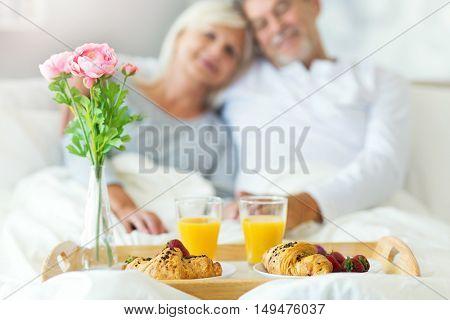 Senior couple enjoying breakfast in bed