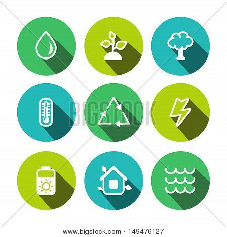 Flat outline vector eco multicolor (yellow-green turquoise light blue) icons set
